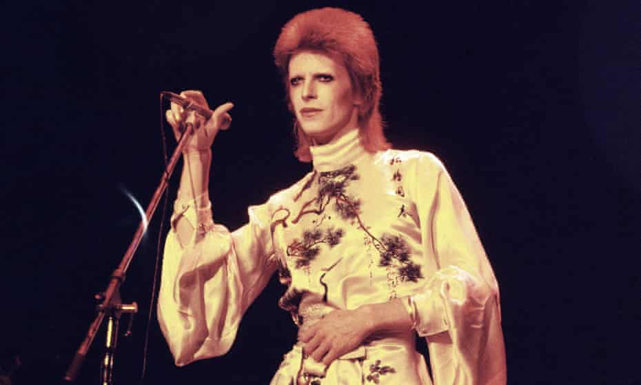 David Bowie on stage on his Ziggy Stardust/Aladdin Sane tour in London in 1973.