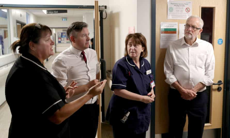 Labour Party's NHS plansLabour Party leader Jeremy Corbyn (right) and shadow heath secretary Jonathan Ashworth listen as Julia Fairhall, Area Head of Nursing and Governance at Sussex Community NHS Foundation Trust, speaks during their visit to Crawley Hospital, Crawley, West Sussex. PA Photo. Picture date: Wednesday October 30, 2019. Photo credit should read: Andrew Matthews/PA Wire