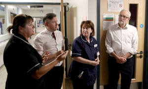 Labour's shadow heath secretary, Jonathan Ashworth (second left) with leader Jeremy Corbyn (right) at a hospital in Crawley last month. He described the figures as a 'disgrace'