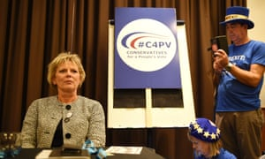 Anna Soubry takes part in a meeting arranged by Conservatives for a People's Vote.