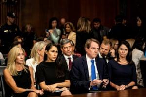 Donald F. McGahn, White House counsel, watches as Kavanaugh testifies