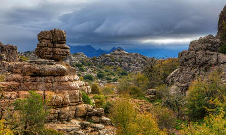 Rock formations El Torcal natural park in the Torcal de Antequera, a nature reserve in Malaga,