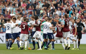 Pushing and shoving just before the final whistle