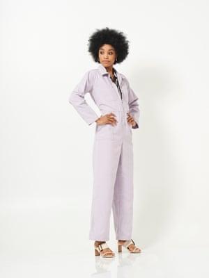 Sol wears jumpsuit, £79, urbanoutfitters.com. Shirt, £180, representclo.com. Shoes, £34.99, hm.com