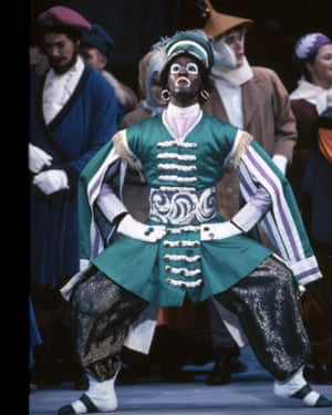 A dancer in minstrel makeup … the 1991 Petrushka by Birmingham Royal Ballet.