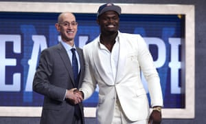 Zion Williamson with NBA commissioner Adam Silver after being drafted with the first overall pick