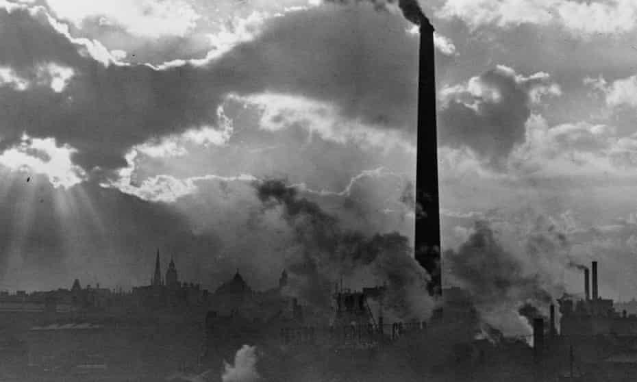 Smoking chimney stacks in Sheffield, Yorkshire.