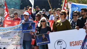 Supporters of Hakeem al-Araib call for his release at a rally at Federation Square in Melbourne on 1 February