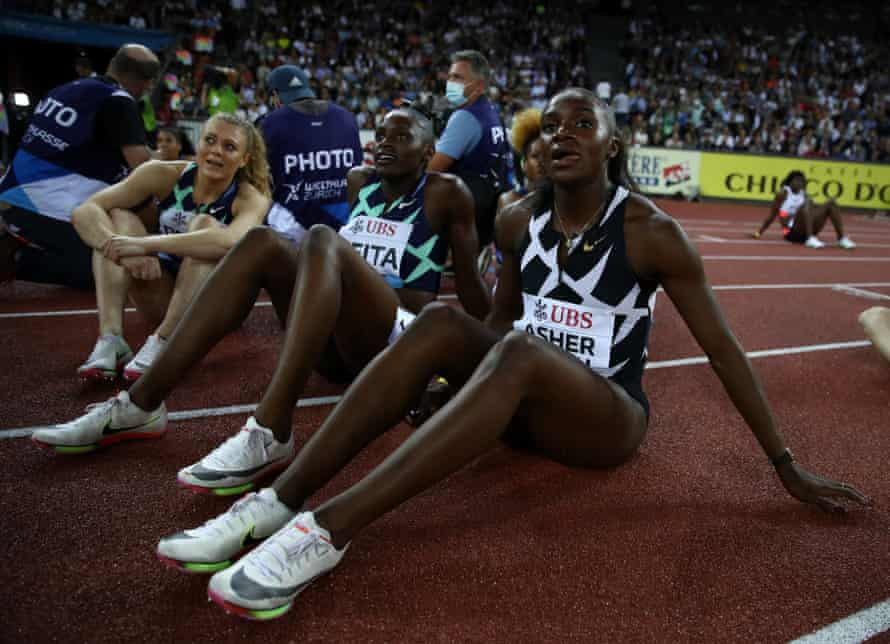 Dina Asher-Smith looks on during the Weltklasse Zurich, part of the Diamond League