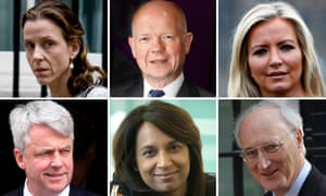 New peers (clockwise from left): Kate Fall, William Hague, Michelle Mone, Sir George Young, Ruby McGregor-Smith and Andrew Lansley