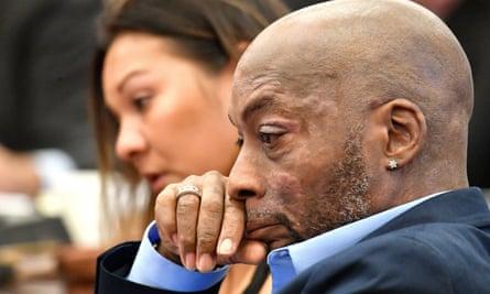 Dewayne Johnson listens during the Monsanto trial in San Francisco last month.