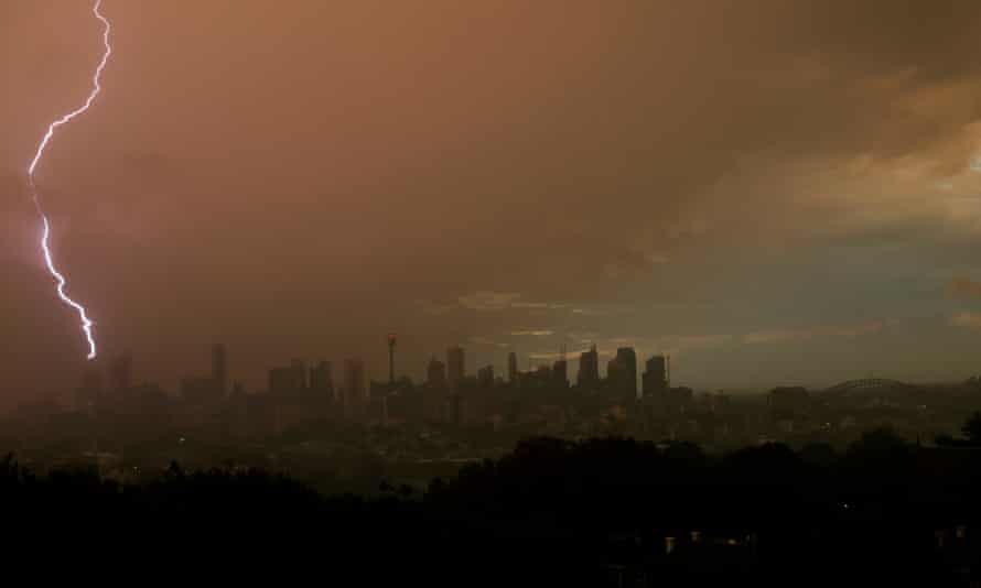 Lightning strikes as storm clouds move over Sydney