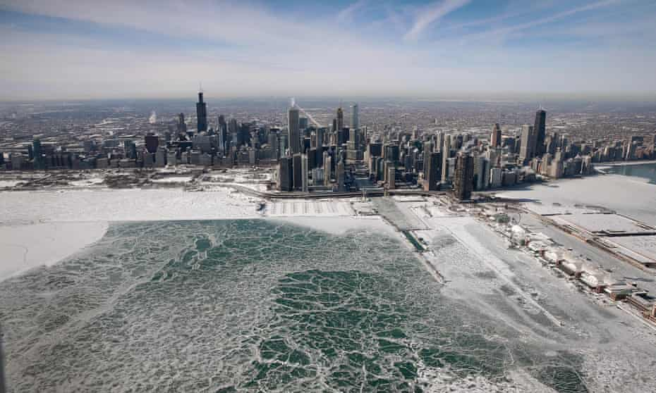 Ice builds up along the shore of Lake Michigan on Thursday in Chicago, Illinois.
