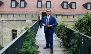 Nigel Farage outside the Spandau citadel in Berlin