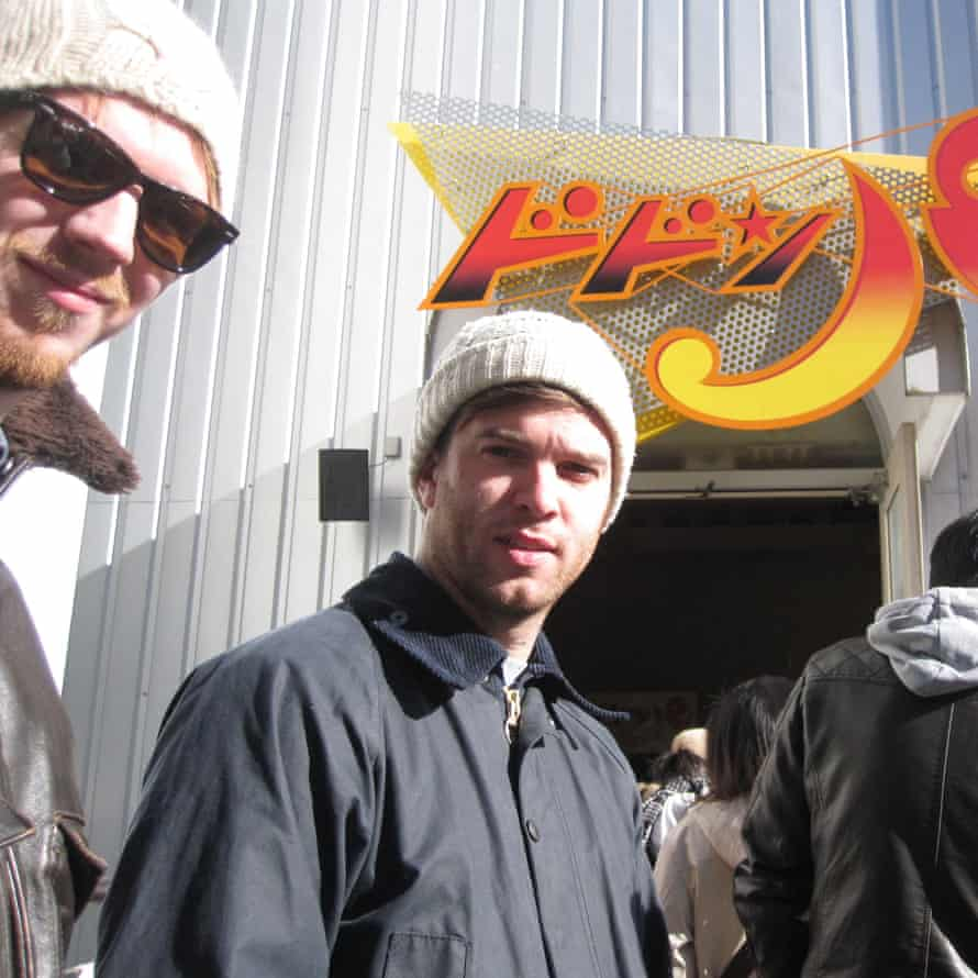 Tom, centre, and friend Will in Japan