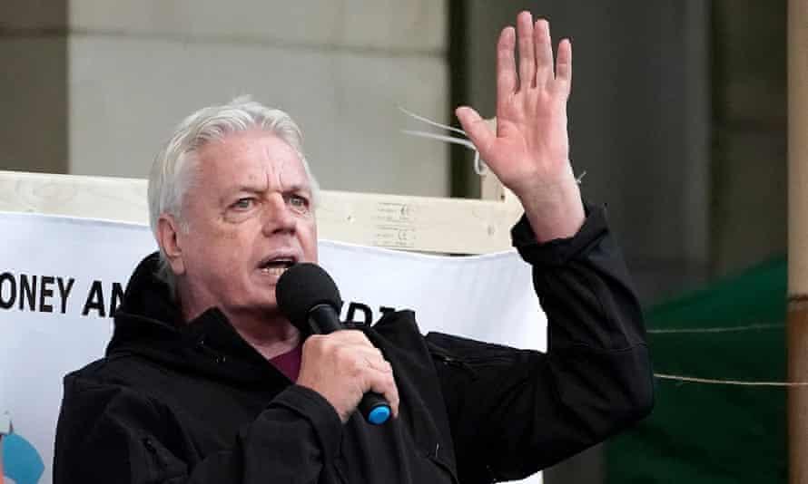 David Icke addresses an anti-lockdown protest in Birmingham last weekend.