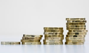 Pile of British pound coins