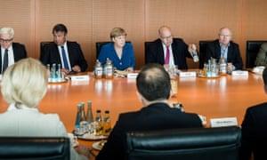 Angela Merkel at a ministerial meeting in Berlin on Saturday.