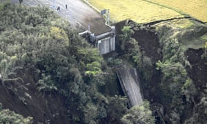 Aso Bridge collapsed after the earthquake