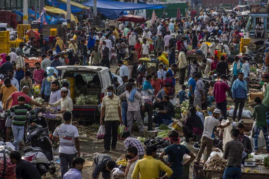 A market in New Delhi was still packed on Thursday