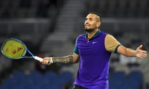 Nick Kyrgios celebrates his winner.