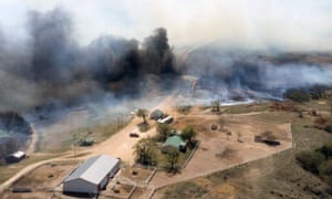 This undated photo provided by the Oklahoma Forestry Services shows the Anderson Creek fire in Woods County, Okla., Wednesday, March 23, 2016. Hundreds of firefighters were battling a wildfire Thursday, March 24, 2016, that spread from Oklahoma to Kansas and has burned an estimated 625 square miles. (Oklahoma Forestry Services via AP)