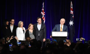 Malcolm Turnbull addresses party members at the Liberal Party election night event, telling them he believed Coalition would form a majority government.