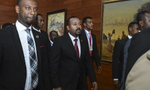 Ethiopia's prime minister, Abiy Ahmed, centre, arrives at an African Union summit in Addis Ababa in July.