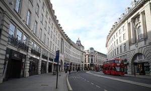 A near-empty Regent Street in London last week.