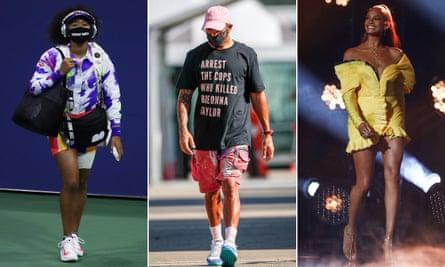 Naomi Osaka, Lewis Hamilton and Alesha Dixon