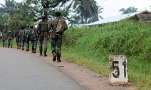 Democratic Republic of Congo soldiers march