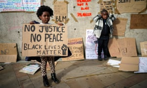 Young protesters at a Black Lives Matter rally in Manchester at the weekend.