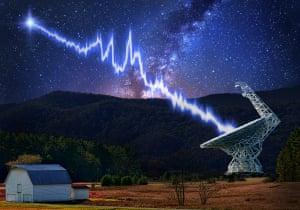 An artist's impression of one of the flashes recorded from FRB 121102 travelling toward the the Green Bank Telescope.