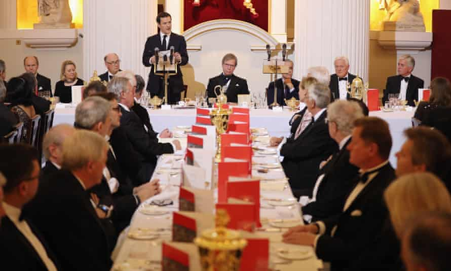 Chancellor George Osborne addresses the annual Mansion House dinner in London.