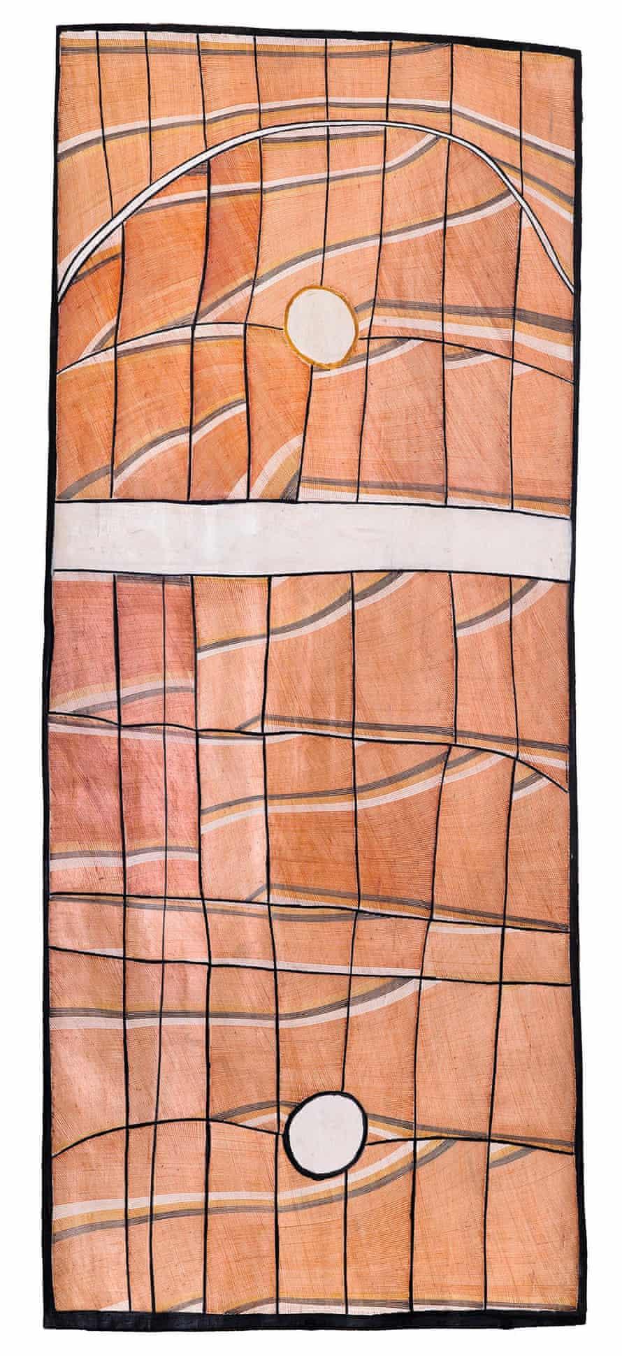 John Mawurndjul, Milmilngkan, 2008. Earth pigments on Stringybark (Eucalyptus tetrodonta)