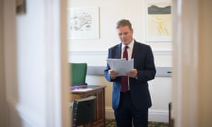 Sir Keir Starmer in his office in parliament with his speech for Labour's online conference, which he will deliver tomorrow morning.