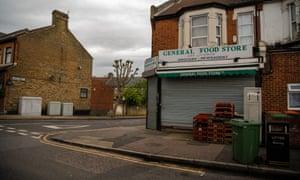 A closed corner shop in Newham.