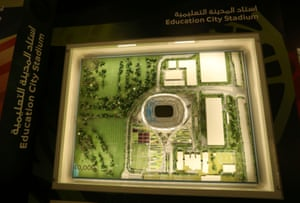 A scale model of Education City Stadium, which is not ready for use in the 2019 tournament.