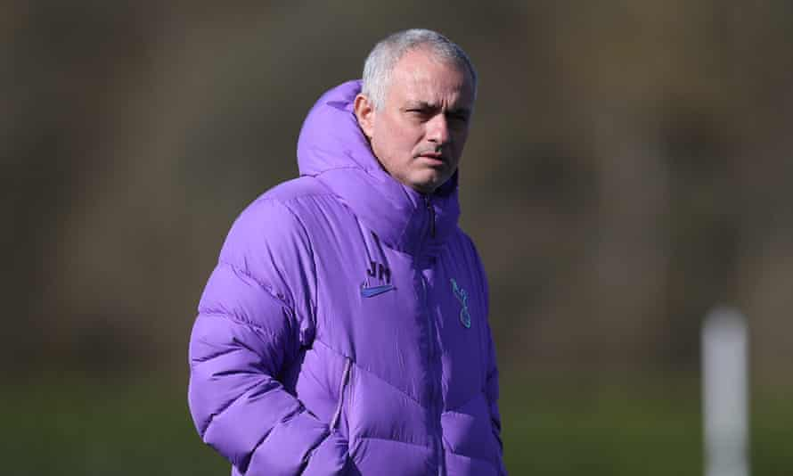 Tottenham's manager, José Mourinho, pictured here on 12 March at the club's training ground, was seen in a purple Spurs top.