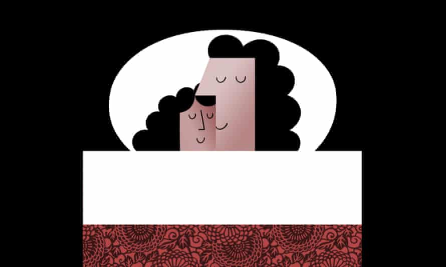 Illustration of mother and daughter in bed