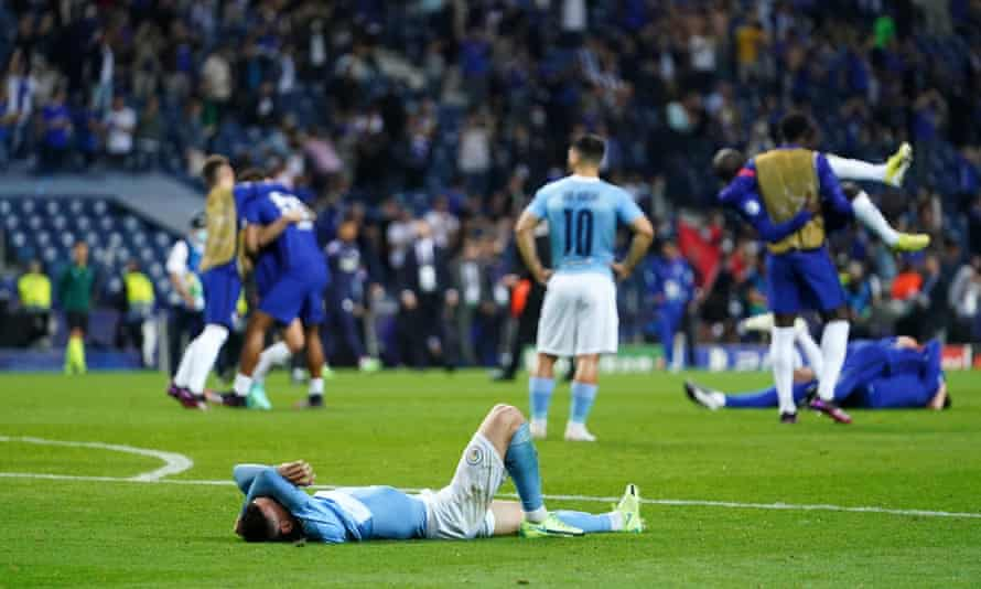 Phil Foden lies on the ground at full-time as Manchester City's Champions League dream fell apart in the final.