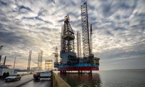 Platforms in Esbjerg offshore oil harbor, Denmark.
