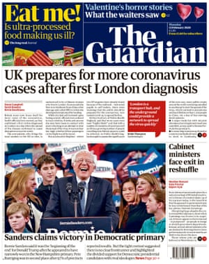 Guardian front page, Thursday 13 February 2020