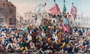 Print showing the Peterloo massacre, published by Richard Carlile in 1819.