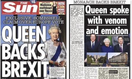 The Sun is unequivocal about the Queen's EU views.