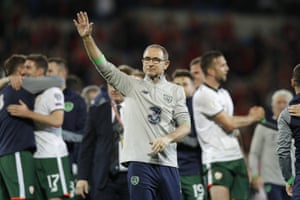 Martin O'Neill celebrates at the end of the match.