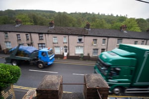 Lorries on the A472, Crumlin.