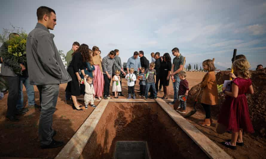 Members of local Mormon communities and relatives of the extended Le Baron family attend the funeral held for Christina Marie Langford on 9 November in Le Barón, Mexico.
