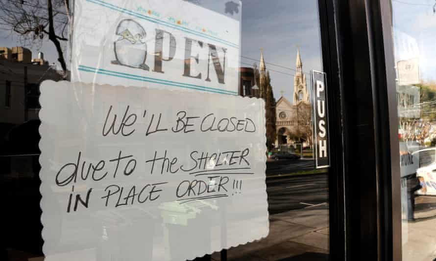 A restaurant closed due to the 'shelter-in-place' order in North Beach district in San Francisco.