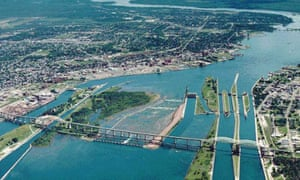 Aerial view of St Marys Falls canal and Soo Locks.
